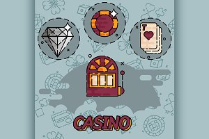 Casino flat concept icons