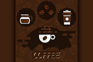 Coffee flat concept icons