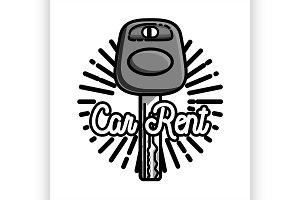 Color vintage car rent emblem