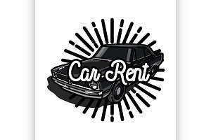 Color vintage car rent emblem