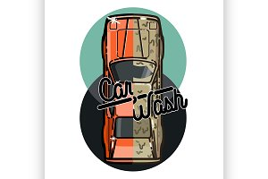 Color vintage car wash emblem