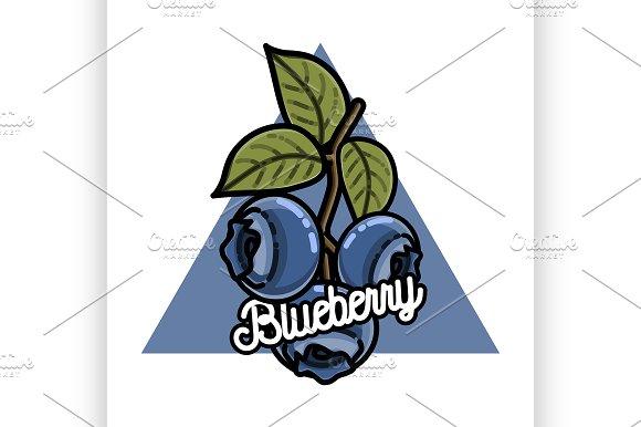 Color vintage fruits emblem