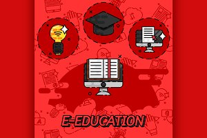 E-education flat concept icons