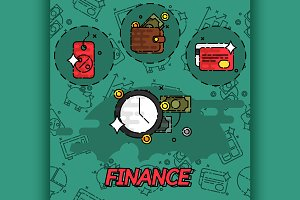 Finance flat concept icons