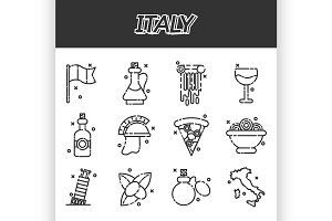 Italy icons set