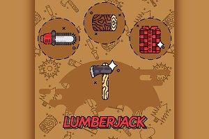 lumberjack flat concept icons