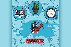 Office flat concept icons