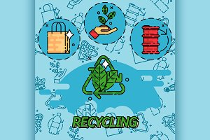 Recycling flat concept icons
