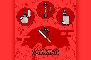 Smoking flat concept icons
