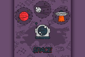 Space flat concept icons
