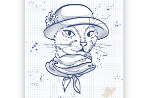 Vector elegant woman with cats head
