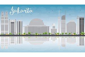 Jakarta skyline with gray landmarks