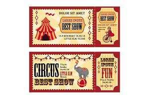 Circus tickets design with tent, monkey on bike and elephant template