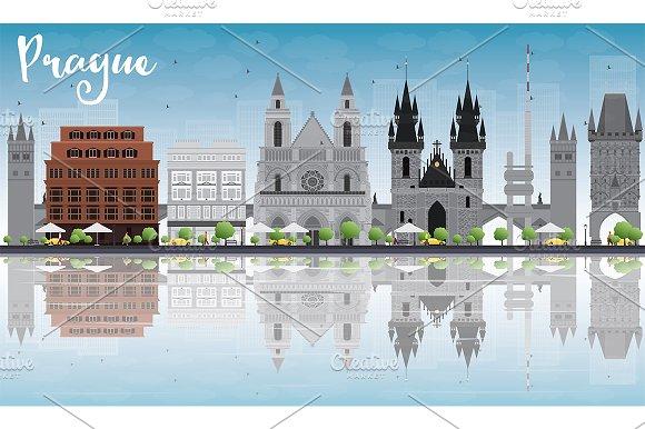 Prague Skyline With Gray Landmarks