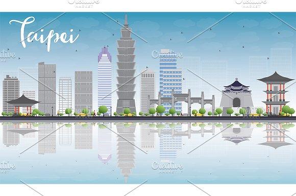Taipei Skyline With Gray Landmarks