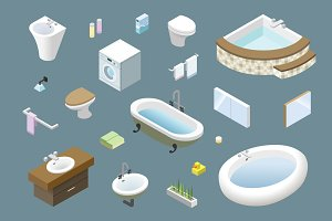 Vector isometric bathroom furniture