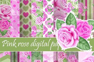 Pink roses paper pack