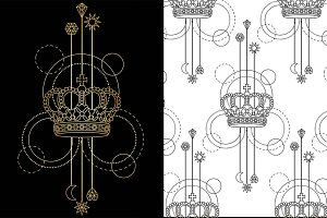 Crown Tattoo+Seamless Patterns