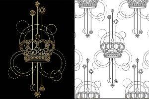 Crown Tattoo+Seamless Patterns