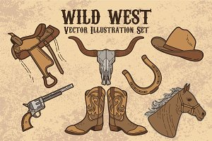 Coboy Wild West Vector Set