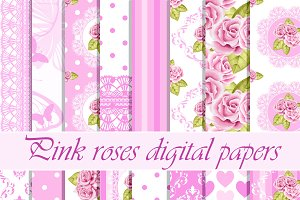 Pink roses digital pattern