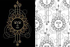 Sun Tattoo+Seamless Patterns
