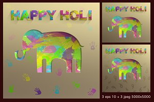 Happy Holi elephant paper cut