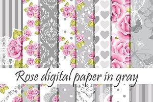Gray roses paper pack
