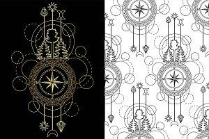 Compass Tattoo+Seamless Patterns