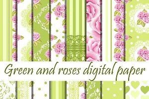 Pink and green roses patterns