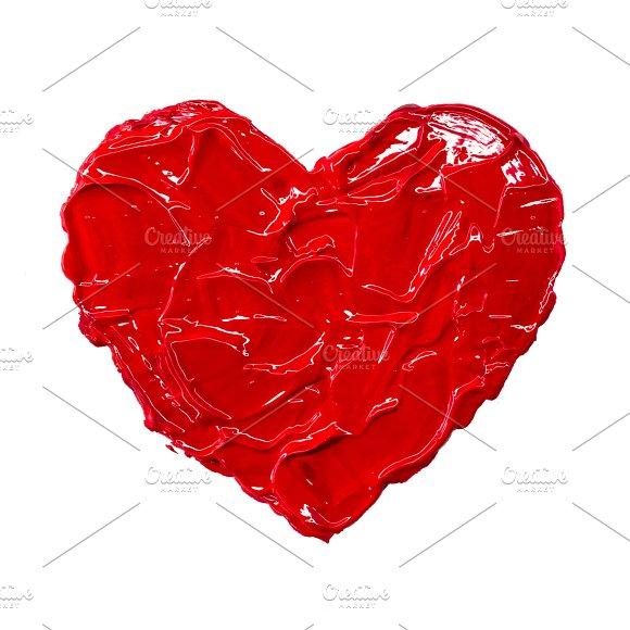 Acrylic heart hand drawn illustration gouache painting