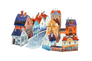 Watercolor cityscape. Illustration of old European town street with houses and block-stone pavement