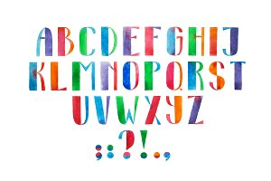 Aquarelle font hand drawn alphabet watercolor illustration.