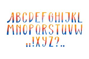 Aquarelle font hand drawn alphabet watercolor illustration