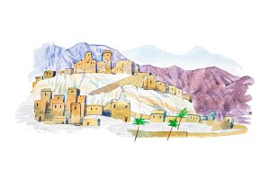 Warecolor illustration desert town aquarelle drawings cityscape