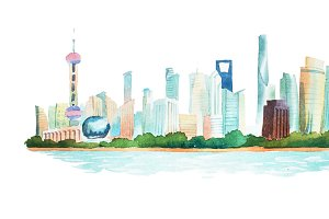 Panoramic view hand drawn with watercolors of big modern city
