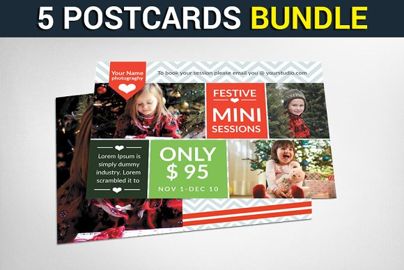 5 Christmas Cards Bundle