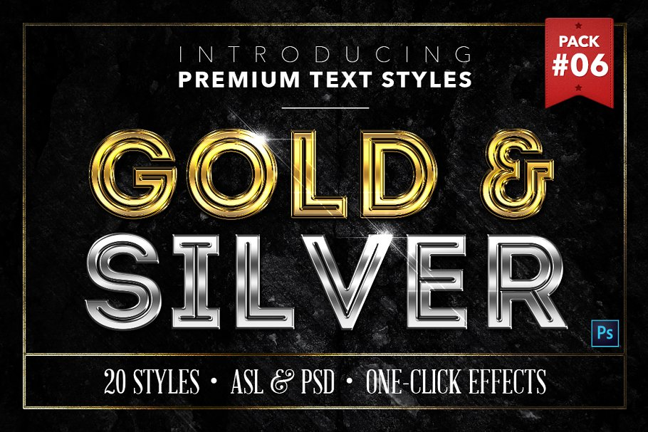 Gold & Silver #6 - 20 Text Styles ~ Photoshop Add-Ons
