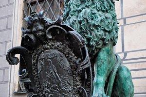 Bavarian lion statue at Munich Residenz palace