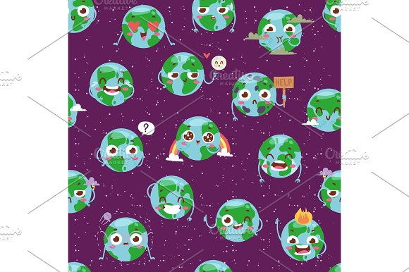 Cartoon Globe With Emotion Web Icons Green Global Smile Face Happy Nature Character Expression And Ecology Earth Planet World Map Seamless Pattern Vector Illustration