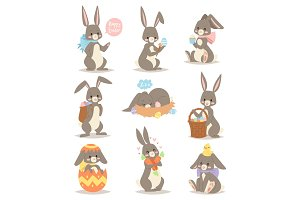 Happy rabbit cartoon character cheerful mammal holiday art hare with basket and cute easter bunny with eggs funny gray animal vector illustration.