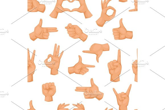 Hands Showing Deaf-mute Different Gestures Human Seamless Pattern Arm Vector Illusstration