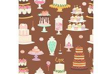 Cakes cartoon style seamless pattern vector illustration.