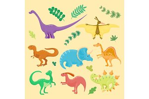 Cartoon dinosaurs vector illustration isolated monster animal dino prehistoric character reptile predator jurassic fantasy dragon leaf
