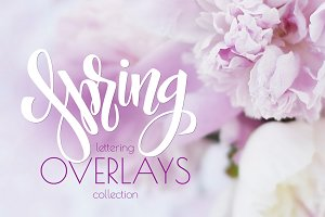 Spring lettering overlays collection