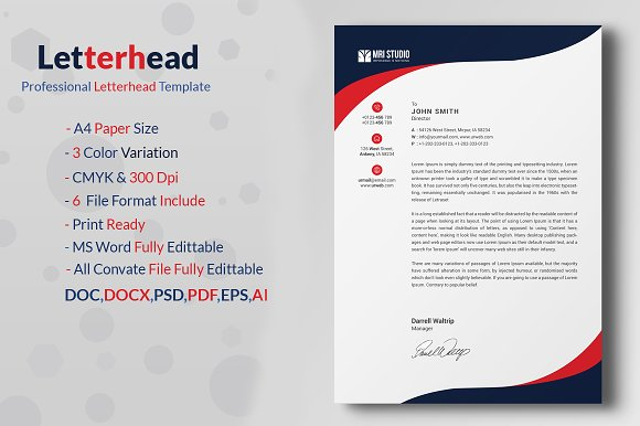 premium corporate letterhead stationery templates creative market