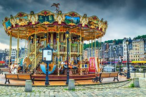 Colorful French carousel in Honfleur