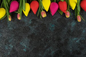 Handmade and real tulips on darken