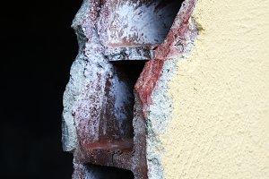 Cross-section of broken wall