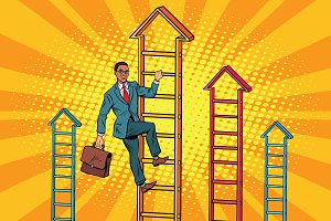 Businessman climbs up the stairs